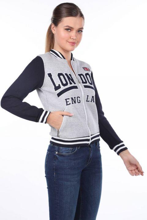 London England Aplikeli İçi Polarlı College Kadın Sweatshirt