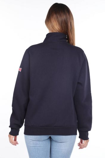 MARKAPIA WOMAN - London England Aplikeli İçi Polarlı Fermuarlı Kadın Sweatshirt (1)