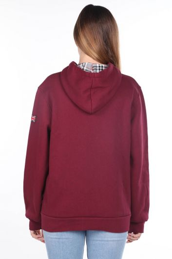London England Aplikeli İçi Polarlı Fermuarlı Kadın Sweatshirt - Thumbnail