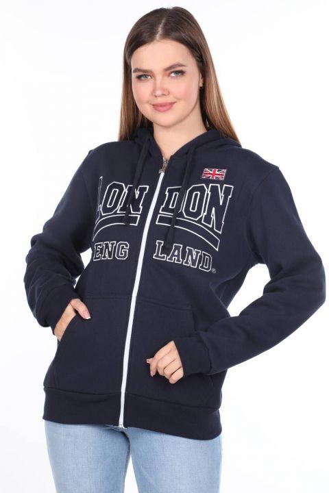 London England Aplikeli İçi Polarlı Fermuarlı Kadın Sweatshirt