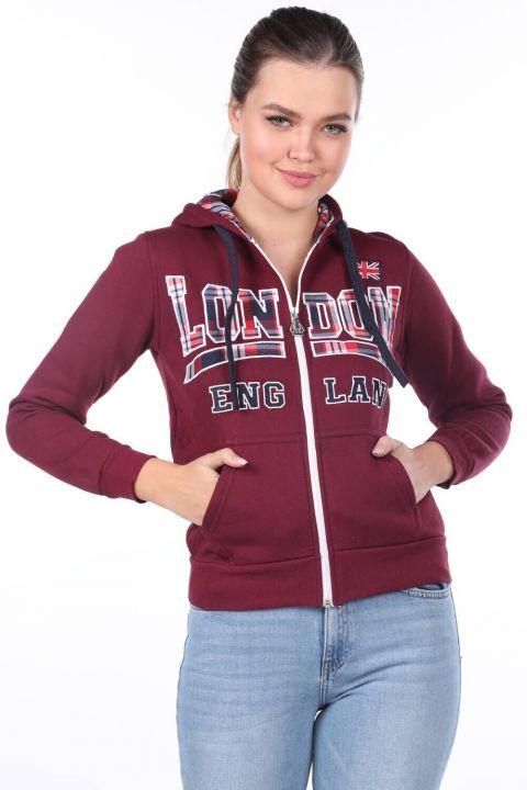 Aplikeli İçi Polarlı Kapüşonlu Fermuarlı Bordo Kadın Sweatshirt