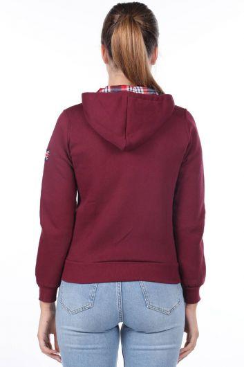 MARKAPIA WOMAN - Aplikeli İçi Polarlı Kapüşonlu Fermuarlı Bordo Kadın Sweatshirt (1)