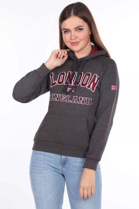 London England Aplikeli İçi Polarlı Kapüşonlu Kadın Sweatshirt
