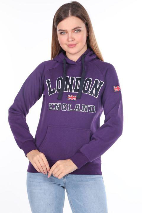 İçi Polarlı Aplikeli Kadın Kapüşonlu Sweatshirt