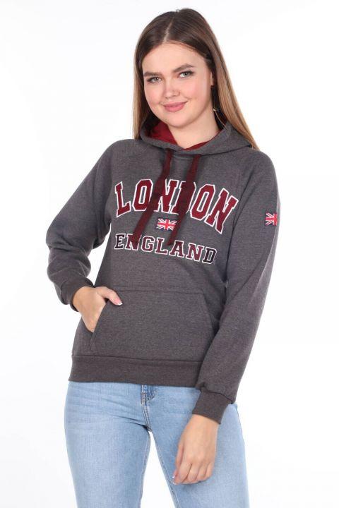 London England Aplikeli İçi Polarlı Koyu Gri Kapüşonlu Kadın Sweatshirt