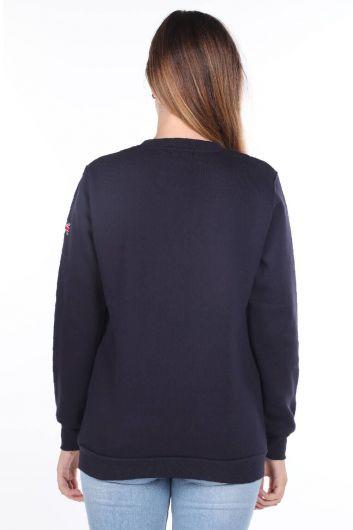 MARKAPIA WOMAN - London England Aplikeli İçi Polarlı Lacivert Kadın Sweatshirt (1)
