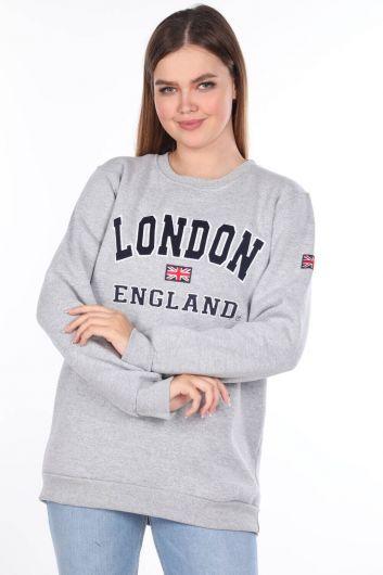 MARKAPIA WOMAN - London England Aplikeli İçi Polarlı Kadın Sweatshirt (1)