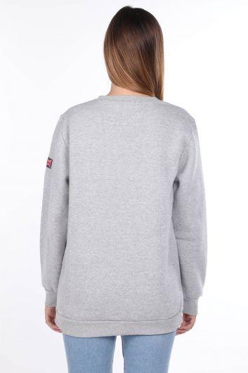 London England Aplikeli İçi Polarlı Kadın Sweatshirt - Thumbnail