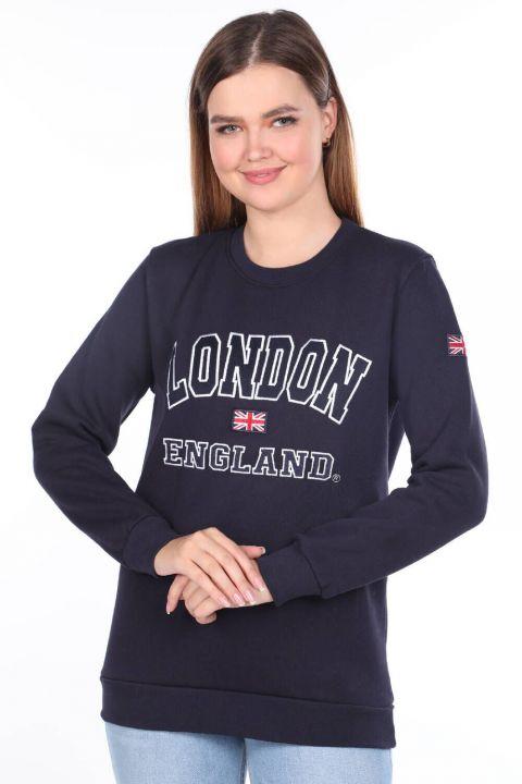 London England Aplikeli İçi Polarlı Kadın Sweatshirt