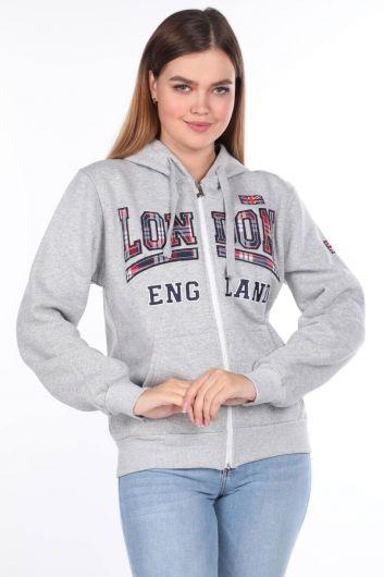 MARKAPIA WOMAN - London England Appliqued Inner Fleece Navy Blue Zipper Women's Sweatshirt (1)