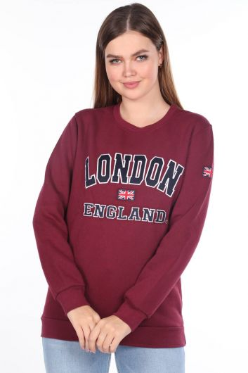 London England Appliqued Fleece Sweatshirt - Thumbnail