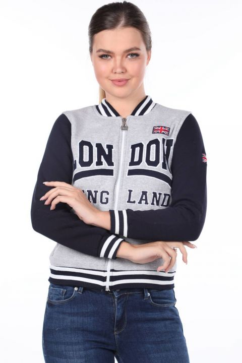 Женский свитшот London England с аппликацией и флисом
