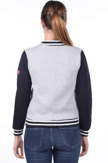 MARKAPIA WOMAN - London England Appliqued Fleece College Sweatshirt (1)