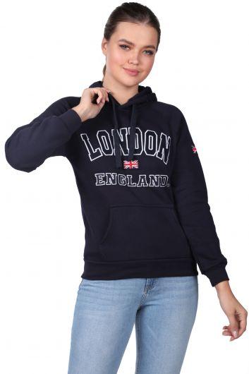 London England Appliqued Inner Fleece Navy Blue Hooded Sweatshirt - Thumbnail