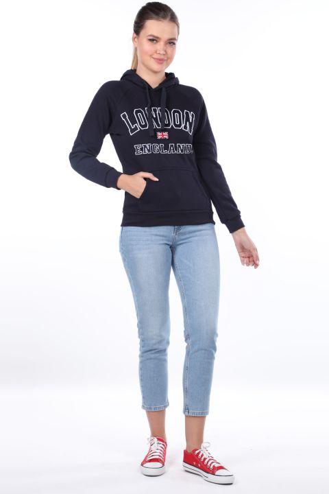 London England Appliqued Inner Fleece Navy Blue Hooded Sweatshirt