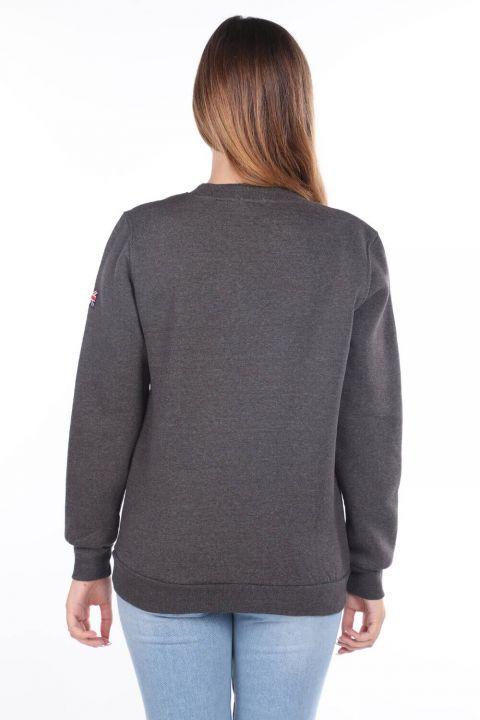 Серый женский свитшот с аппликацией из флиса London England