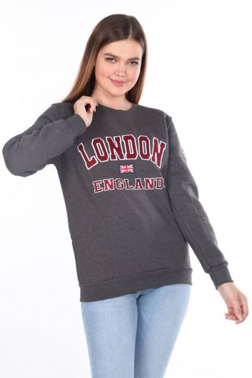 London England Applique Inside Fleece Gray Women's Sweatshirt - Thumbnail