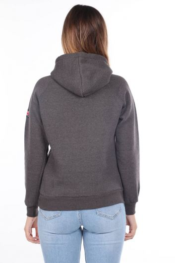 MARKAPIA WOMAN - London England Applique Inner Fleece Hooded Sweatshirt (1)