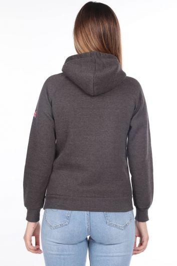 MARKAPIA WOMAN - London England Applique Inner Fleece Hooded Sweatshirt (1)
