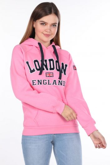 MARKAPIA WOMAN - London England Applique Inside Fleece Hooded Sweatshirt (1)