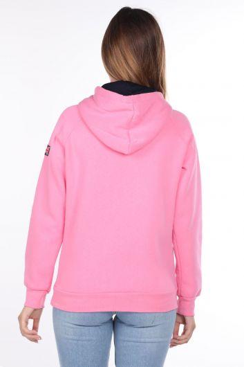 Women's Inner Fleece Applique Hooded Sweatshirt - Thumbnail