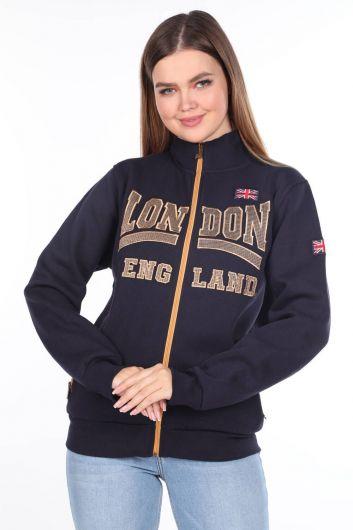 London England Applique Inner Fleece Zippered Sweatshirt - Thumbnail