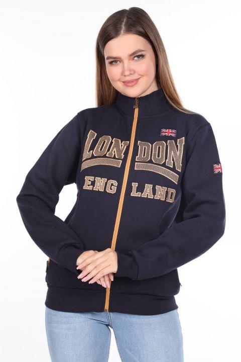 London England Applique Inner Fleece Zippered Sweatshirt