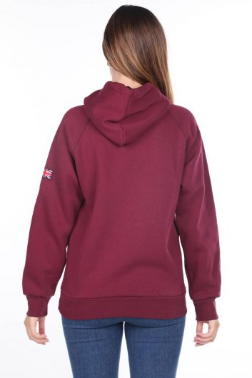 MARKAPIA WOMAN - London England Applique Inside Fleece Claret Red Hooded Women's Sweatshirt (1)