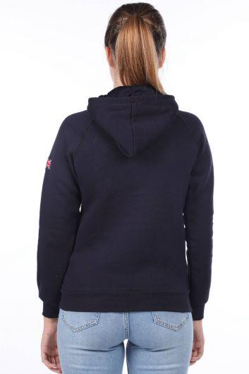 London England Applique Inner Fleece Hooded Sweatshirt - Thumbnail