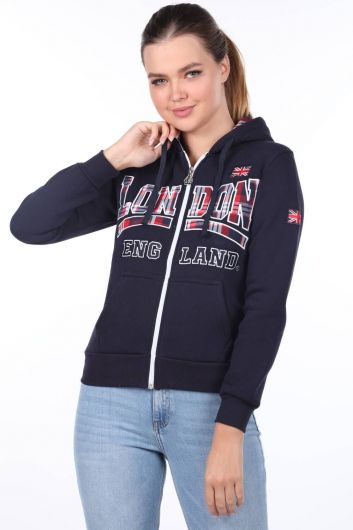 London England Applique Inner Fleece Hooded Zipper Sweatshirt - Thumbnail