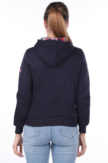 MARKAPIA WOMAN - London England Applique Inner Fleece Hooded Zipper Sweatshirt (1)