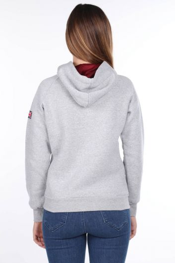 MARKAPIA WOMAN - London England Applique Inside Fleece Light Gray Hooded Women's Sweatshirt (1)