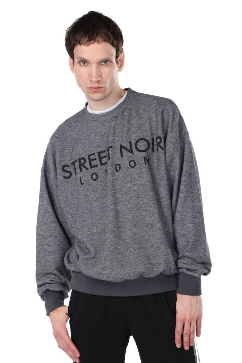 London Printed Elastic Men's Crew Neck Sweatshirt