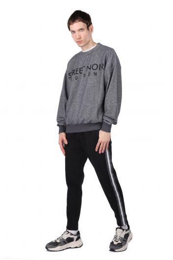London Printed Elastic Men's Crew Neck Sweatshirt - Thumbnail