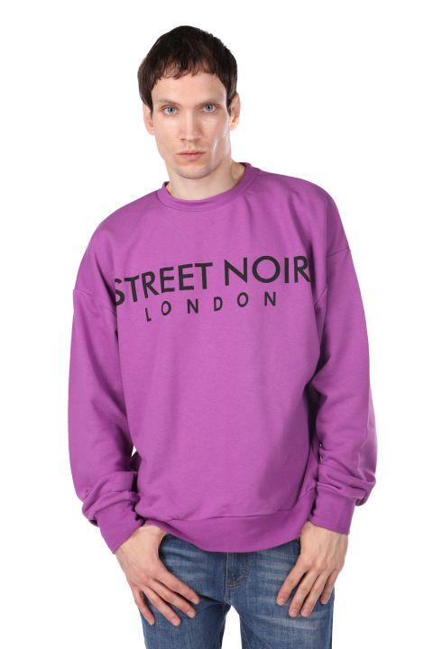 London Printed Purple Men's Crew Neck Sweatshirt