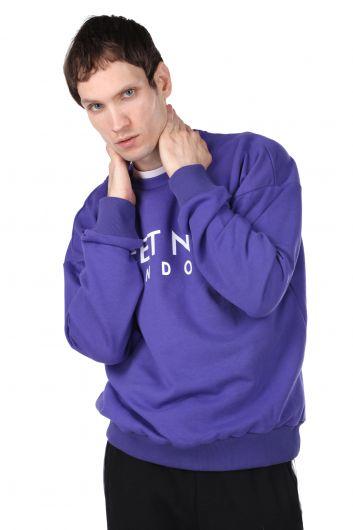 MARKAPIA MAN - London Printed Purple Men's Crew Neck Sweatshirt (1)