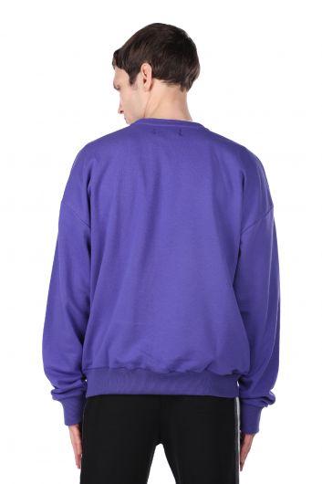 Пурпурный мужской свитшот с круглым вырезом с принтом London - Thumbnail