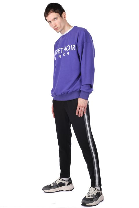 Пурпурный мужской свитшот с круглым вырезом с принтом London