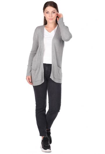 LONG SLEEVE POCKET KNIT CARDIGAN - Thumbnail