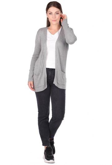 Серый женский трикотажный кардиган с открытыми передними карманами - Thumbnail