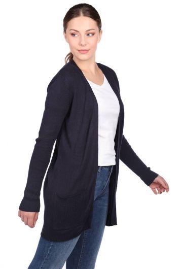 Темно-синий женский трикотажный кардиган с открытыми передними карманами - Thumbnail