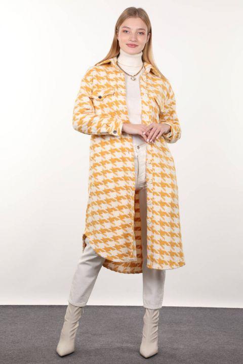 سترة طويلة منقوشة صفراء للنساء