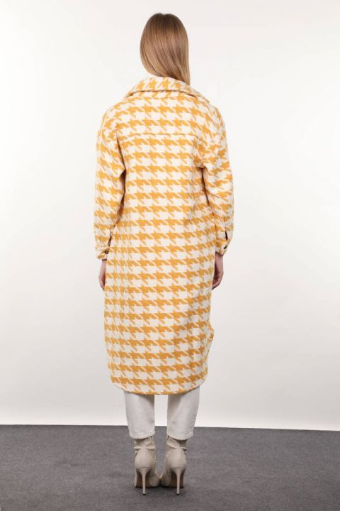 Yellow Houndstooth Patterned Long Women's Jacket