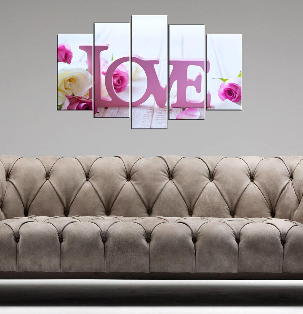 Love Yazılı 5 Parçalı Mdf Tablo-3381
