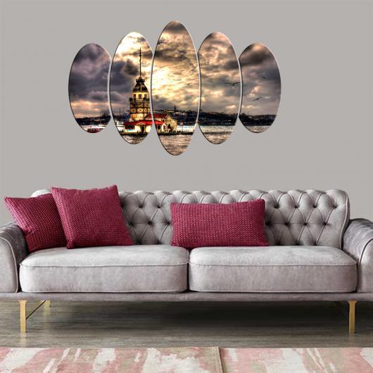 لوحة برج العذراء مكونة من 5 قطع بيضاوية - Thumbnail