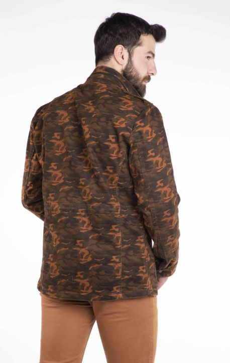 Makapia Camouflage Patterned Jean Jacket