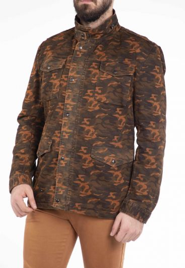 Makapia Camouflage Patterned Jean Jacket - Thumbnail