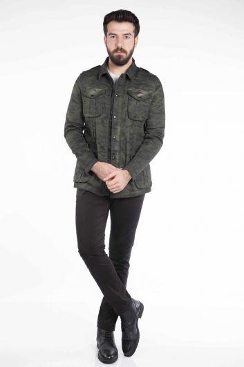 Makapia Camouflage Patterned Jean Jacket - Thumbnail