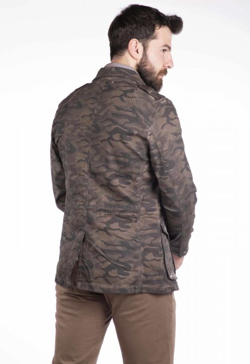 Makapia Camouflage Patterned Jean Jacket