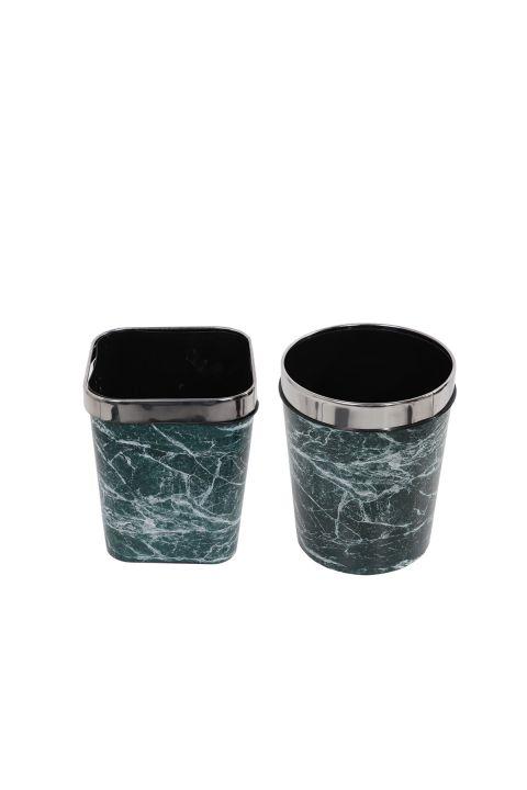سلة مهملات بلاستيكية مستديرة ومربعة مع غطاء معدني بنمط رخامي مجموعة من 2